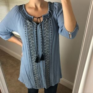 Umgee Embroidered Boho Tunic Tassel Top